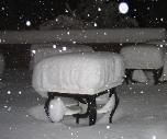 Picture of a table in Reno, NV snow storm 2004